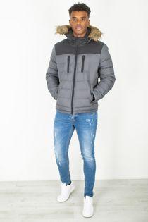 Grey Faux Fur Hood Padded Jacket