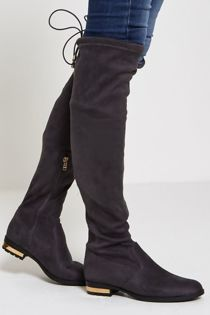 Grey Flat Knee High Faux Suede Boots