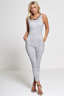 Grey Gold Chain Jumpsuit