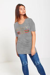 Grey Longline Guilty T-Shirt Top