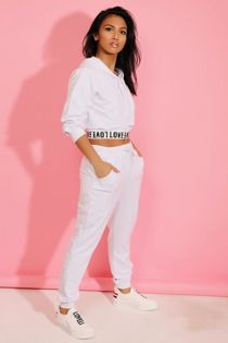 White Love Top Crop Hoodie And Jogger 3 Piece Set