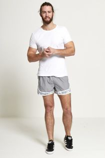 Grey Palm Tree Print Swim Shorts