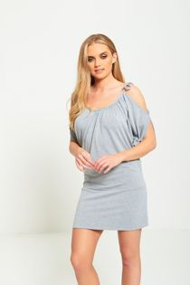 Grey Plain Cold Shoulder Knot Mini Dress