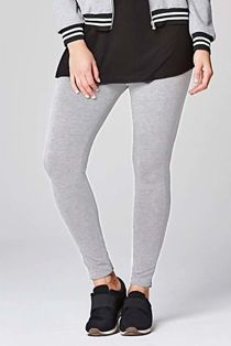 Grey Plain Stretchable Viscose Leggings