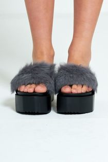 Grey Real Fur Platform Slider