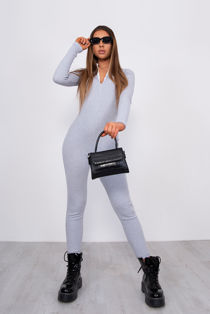 Grey Ribbed High Neck Zip Front Jumpsuit