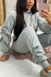 Grey Ruched Hoodie And Jogger Set