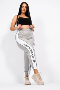 Grey Slogan Print Joggers
