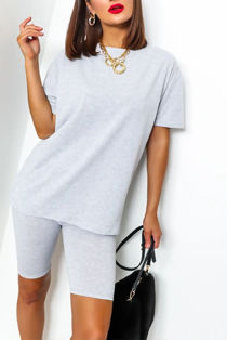Grey T-shirt and Cycling Shorts Set