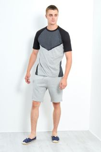 Grey Three-Tone Raglan Sleeve Shorts Set