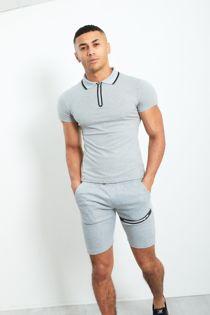 Grey Zip Placket Polo T-Shirt and Short Set