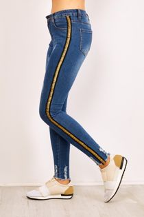 Gold Side Stripe Frayed Hem High Waist Skinny Jeans