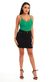 Green Trim Lace Criss Cross Back Bodysuit