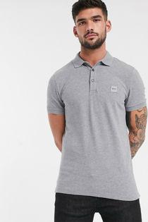 Grey BOSS Passenger Slim Fit Logo Polo