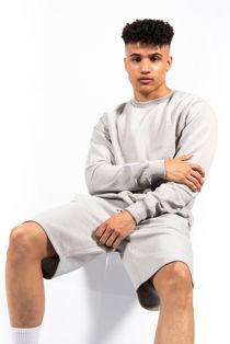 Grey Basic Sweatshirt And Shorts Set