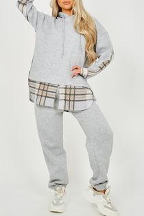 Grey Checked Fleece Hoodie And Jogger Lounge Set
