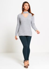 Grey Choker Neck Knitted Jumper