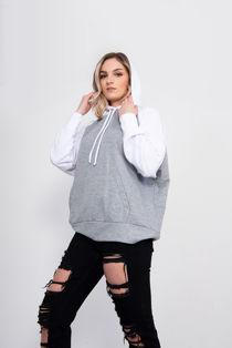 Grey Contrast Raglan Oversized Hoodie