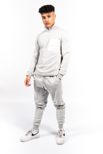 Grey Half Zip Contrast Pockets Skinny Fit Tracksuit