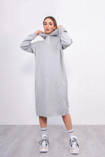 Grey Oversized Hooded Midi Sweater Dress