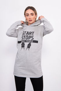 Grey Slogan Print Hooded Sweat Top