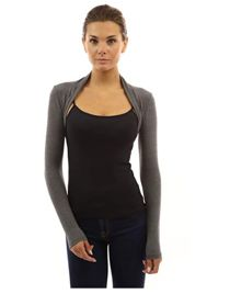 Grey Viscose Cropped Plain Shrug