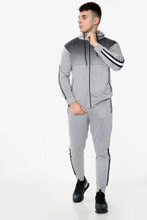 Grey With Black Diamond Funnel Hood Tracksuit