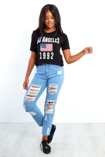 Hidden Aztec Extreme Ripped Denim Mom Jeans