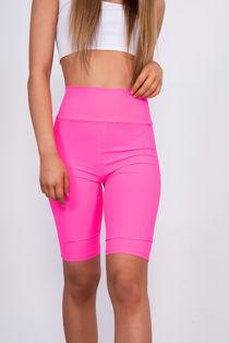 Hot Pink Ribbed Slinky High Waisted Cycling Shorts