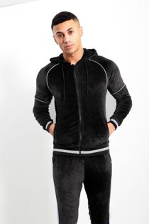 White Stripe Black Velvet Skinny Fit Hood Tracksuit