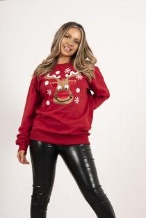 Red Novelty Flake Reindeer Christmas Sweatshirt