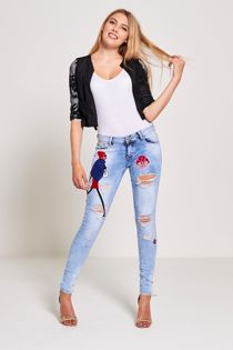 Blue Patched Distressed Skinny Jeans