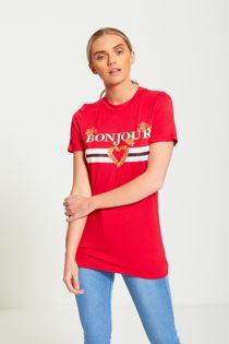 Plus Size Red Bonjour Love T-Shirt