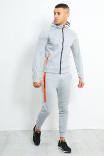 Grey Zip Through Neon Placket Tracksuit
