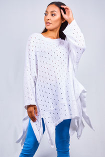 Plus White Crochet Asymmetric Hem Jumper