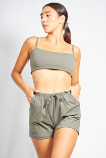 Khaki Basic Crop Top and Short Set With Scrunchie