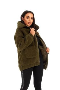 Khaki Borg Faux Fur Teddy Jacket