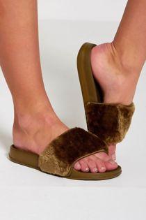 Khaki Faux Fur Slippers