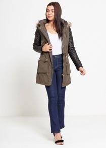 Khaki Leather Sleeve Fur Hood Parka