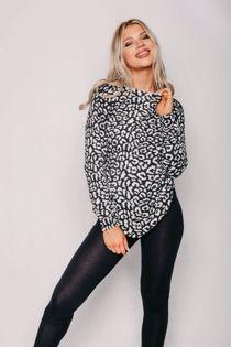 Khaki Leopard Print Long Sleeve Top