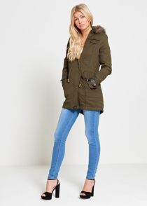 Khaki Light Weight Fur Hood Jacket