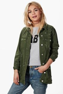 Khaki Longline Paint Splatter Denim Jacket
