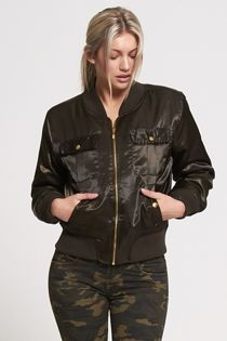 Khaki Pocket Front Satin Bomber Jacket