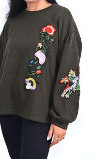Wine Puff Sleeve Embroidered Oversized Sweatshirt
