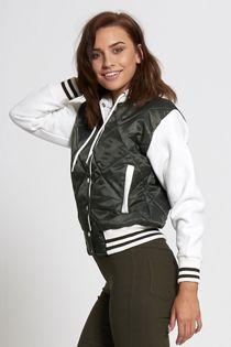 Khaki Quilted Bomber Varsity Jacket