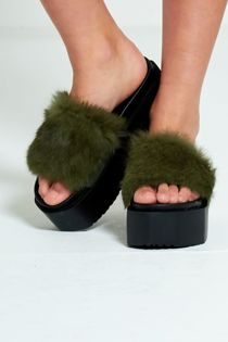 Khaki Real Fur Platform Slider