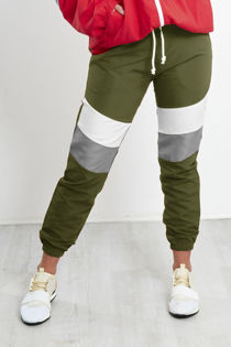 Khaki With White and Grey Panel Trouser