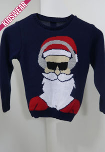 Kids Navy Santa Shades Christmas Jumper