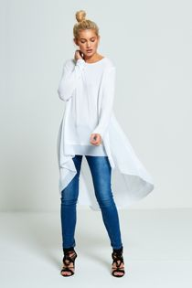 White Lightweight Knit Fishtail Top