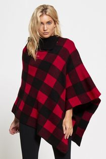 Knitted Checked Poncho